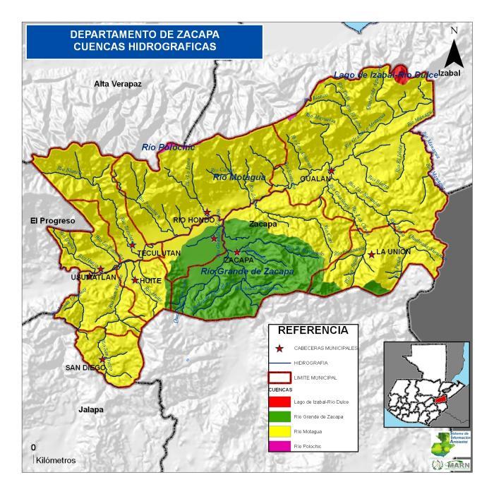Mapa de Cuencas Hidrogrficas de Zacapa Guatemala