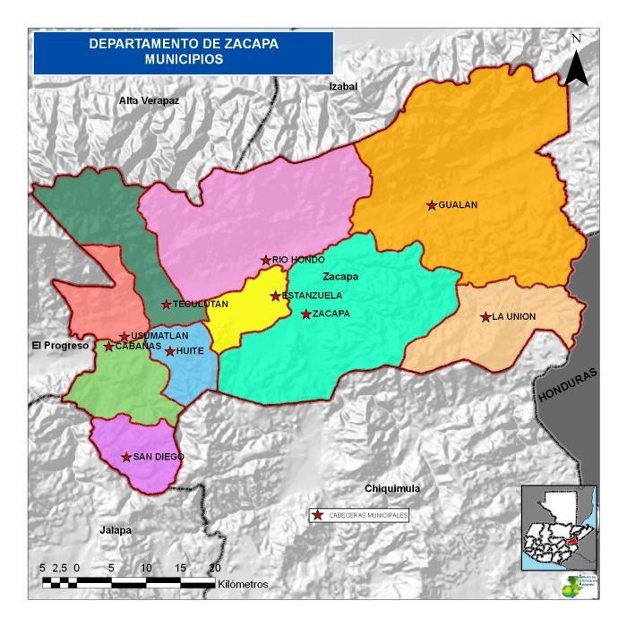 Mapa de Zacapa Guatemala